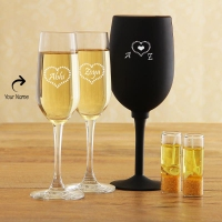 Stylish Champagne Glasses with Yellow Candles