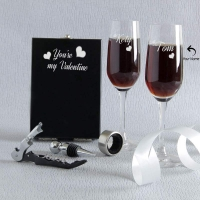 Personalized Champagne Glasses with Bar Accessory Kit