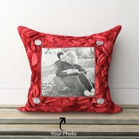 Red Cut Work Pillow with Personalised Photo