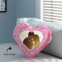 Pink Rose Pillow with Personalized Photo