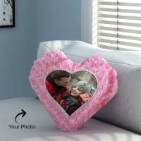 Heart Shape Pink Rose Pillow Personalized with Photo