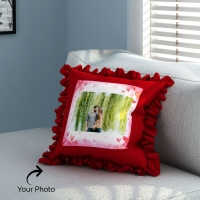 Red Frill Pillow Personalised with Photo