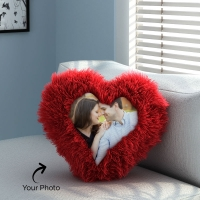 Red Heart Fur Pillow with Personalized Photo