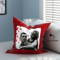 Red Velvet Pillow with Personalized Photo
