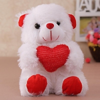 Adorable White Fur Teddy Bear With Heart