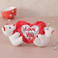 Two White Teddies with Heart Soft Toy
