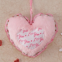 Pink Fur Heart Soft Toy