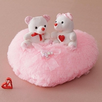 Teddy Couple on Pink Heart Soft Toy